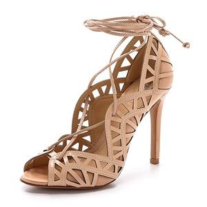 Schutz nude ankle wrap sandal
